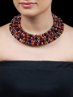 Black - Red Multi Shades Swarovski Collier Necklace