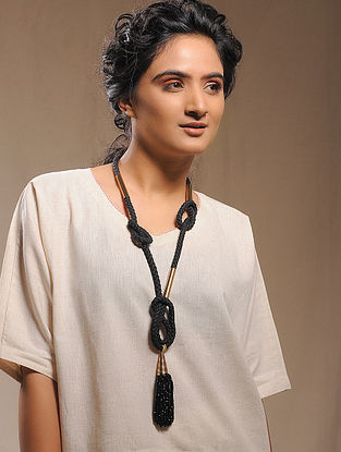 Black Gold Tone Tassel Necklace