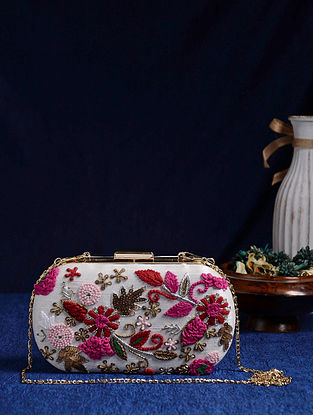 White Multicolored Handcrafted Embroidered Clutch