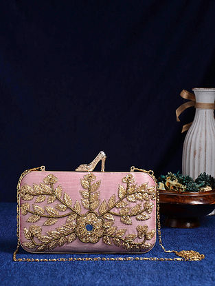 Pink Gold Handcrafted Embroidered Clutch