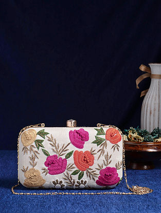 White Multicolored Handcrafted Embroidered Silk Clutch