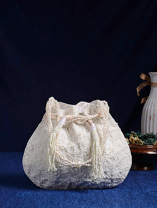 White Handcrafted Pearl Embroidered Potli