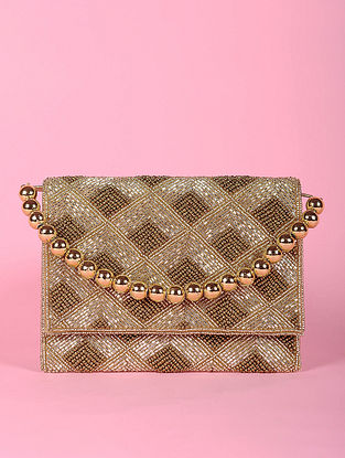 Gold Beaded Silk Clutch