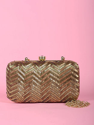 Gold Sequined Silk Clutch