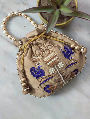 Gold Hand Embroidered Raw Silk Potli