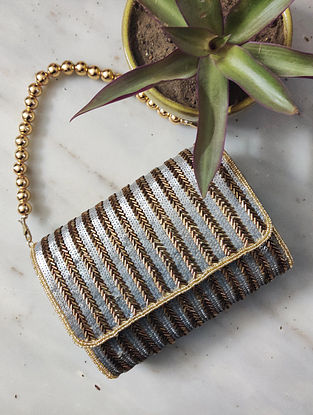 Gold Silver Sequined Raw Silk Clutch