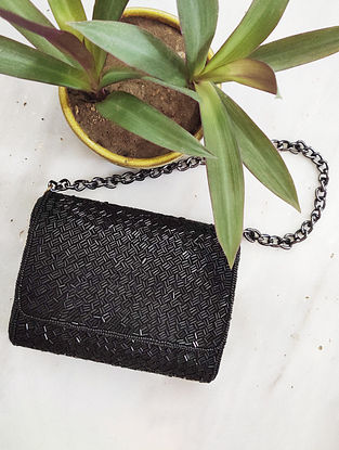 Black Beaded Raw Silk Clutch