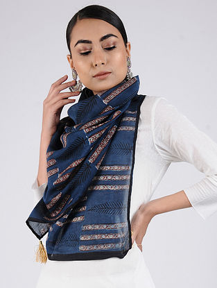 Blue-Red Block-printed Chanderi Stole