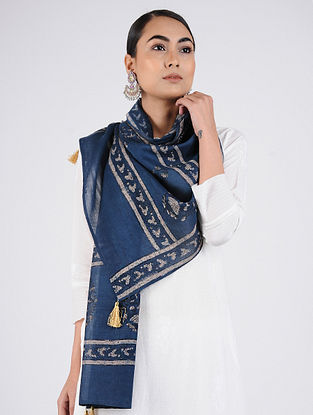 Blue-Ivory Block-printed Chanderi Stole