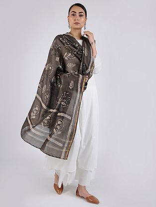 Kashish-Ivory Block-printed Chanderi Dupatta with Zari Border
