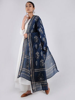 Blue-Ivory Block-printed Chanderi Dupatta with Zari Border