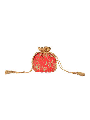 Coral Pink Gold Handcrafted Sequin Embroidered Silk Potli with Tassels