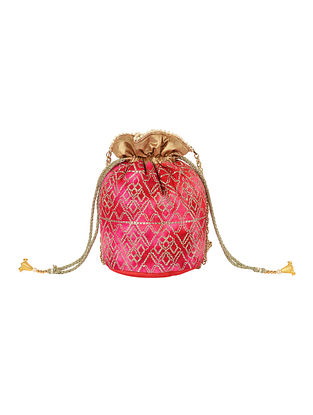 Red Pink Handcrafted Sequin Embroidered Silk Potli with Tassels