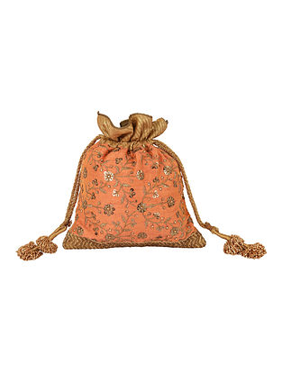 Peach Handcrafted Sequin Embroidered Silk Potli with Tassels