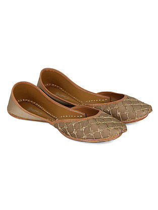 Gold Handcrafted Silk and Leather Juttis with Sequin Work