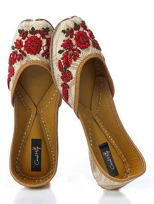 Gold-Red Hand-Embroidered Brocade Silk Jutti With Zardozi Work