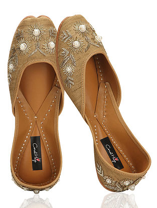 Gold Hand-Embroidered Silk Jutti With Pearl