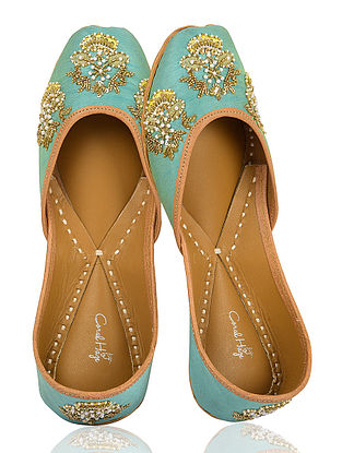 Turquoise-Gold Hand-Embroidered Dupion Silk Jutti With Pearls and Sequins