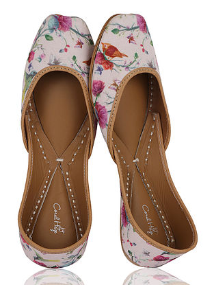Pink-Multicolored Floral Handcrafted Crepe Jutti