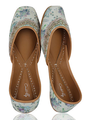 Cream Floral Handcrafted Crepe Jutti with Sequins and Beads