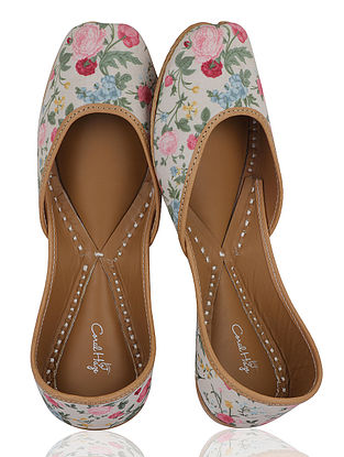 Multicolored Floral Handcrafted Crepe Jutti