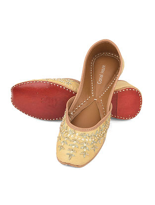 Yellow Hand Embroidered Jutti with Sequin and Zari Work