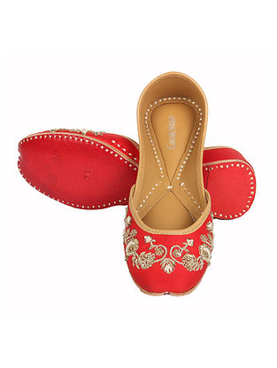 Red Hand Embroidered Jutti with Zardozi Work