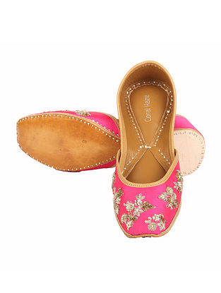 Pink Hand Embroidered Jutti with Zardozi Work