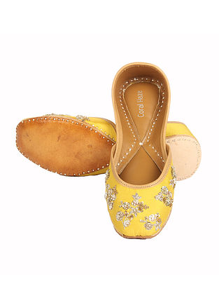 Yellow Hand Embroidered Jutti with Zardozi Work