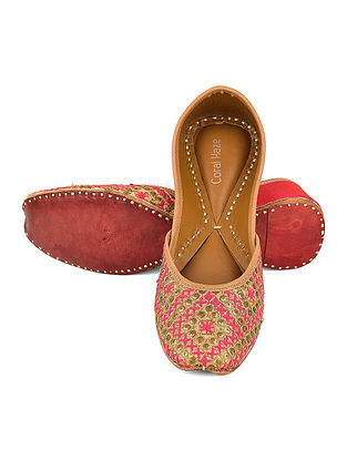 Pink-Golden Embroidered Silk And Leather Jutti with Sequin and Thread Work