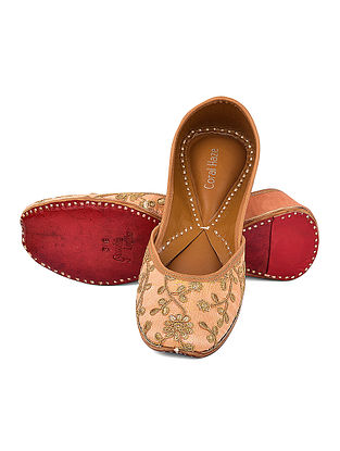 Peach-Golden Embroidered Silk and Leather Jutti with Sequin and Dori Work