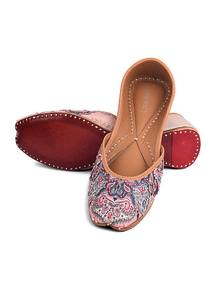 Pink-Multicolored Printed Silk and Leather Jutti with Sequin and Bead Work