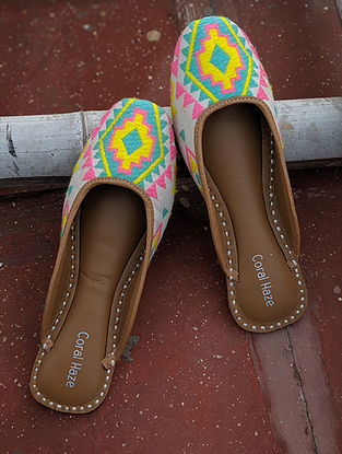 Multicolored Hand Embroidered Genuine Leather Mojaris