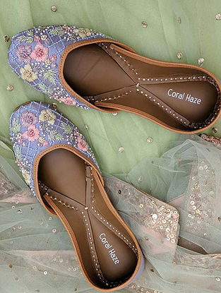 Purple Hand Embroidered Genuine Leather Juttis