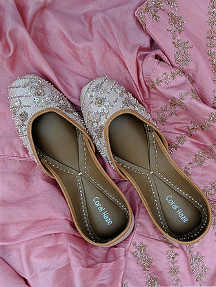 Nude Cream Hand Embroidered Genuine Leather Juttis