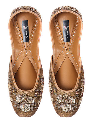 Gold Zardozi-embroidered Brocade Silk and Leather Juttis