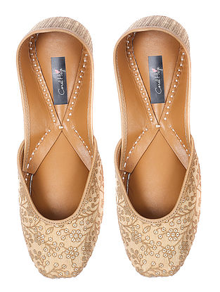 Gold Sequin and Thread embroidered Silk and Leather Juttis