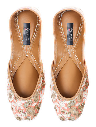 Peach-Ivory Sequin-embellished Silk and Leather Juttis with Zari and Thread Work