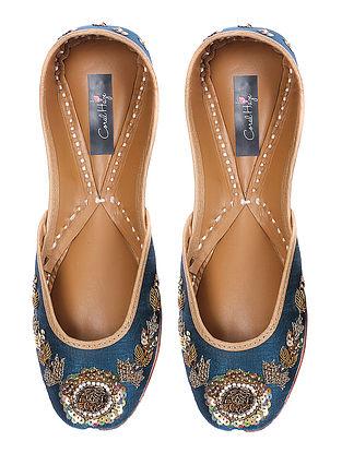 Blue Zardozi-embroidered Silk and Leather Juttis