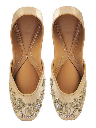 Golden Silk and Leather Juttis with Sequin Embellishment