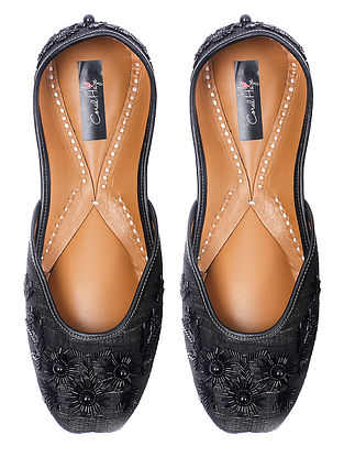 Black Embroidered Silk and Leather Juttis