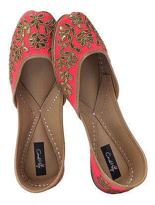 Pink Gota Patti Embroidered Silk and Leather Juttis