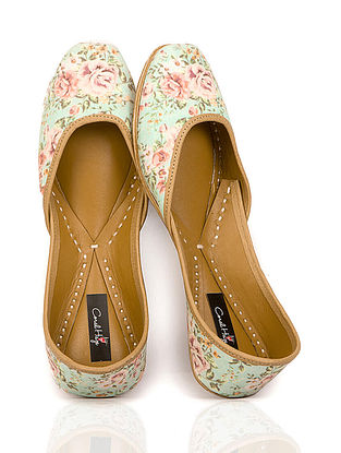 Mint Green Floral Printed Canvas and Leather Juttis