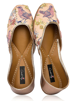 Multicolored Floral Printed Silk and Leather Juttis with Embellishments