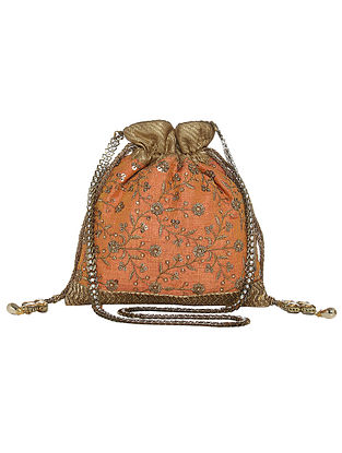 Peach Zari and Sequin Embroidered Silk Potli with Tassels