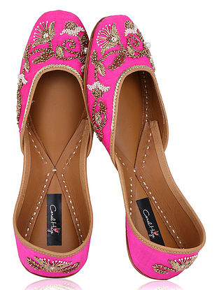 Pink Zardozi Embroidered Raw Silk Juttis