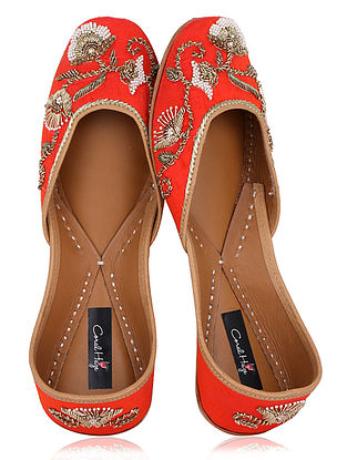 Orange Zardozi Embroidered Raw Silk Juttis