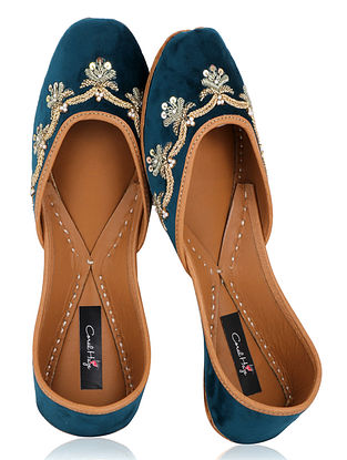 Teal Zardozi Embroidered Velvet Juttis