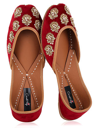 Red Zardozi Embroidered Velvet Juttis
