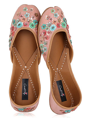 Peach Thread Embroidered Dupion Silk Juttis with Sequins Embellishments